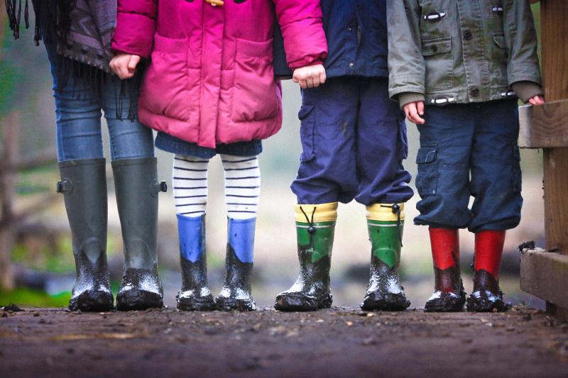 Picture of children's feet wearing muddy wellies